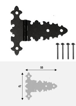 Charnières à l'ancienne (55x45) noir antique + fixations