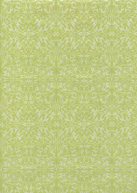 Ornement blanc nacré fond vert tendre (54x78)