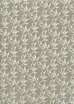 Lokta feuillage blanc fond beige (50x75)