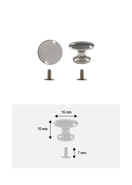 Bouton lentille argent  + vis (Ø16H: 10mm)