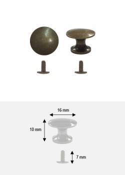 Bouton lentille bronze + vis (Ø16 H:10mm)