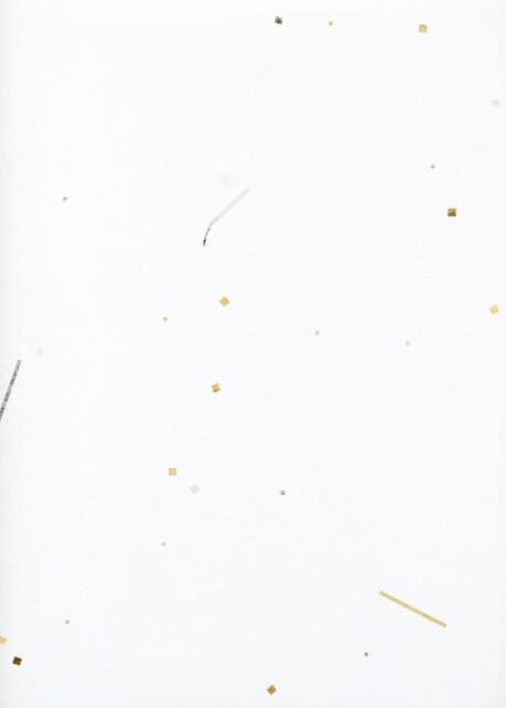 Papier japonais-Incrustations or et argent fond blanc (55x79)