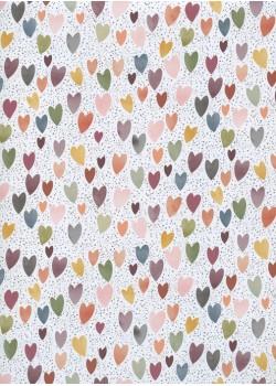 Les coeurs ambiance violine sur fond de pois (48x68)
