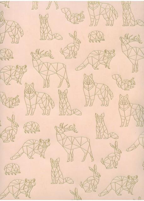Les animaux scandinaves or sur fond strié saumon (68x98)