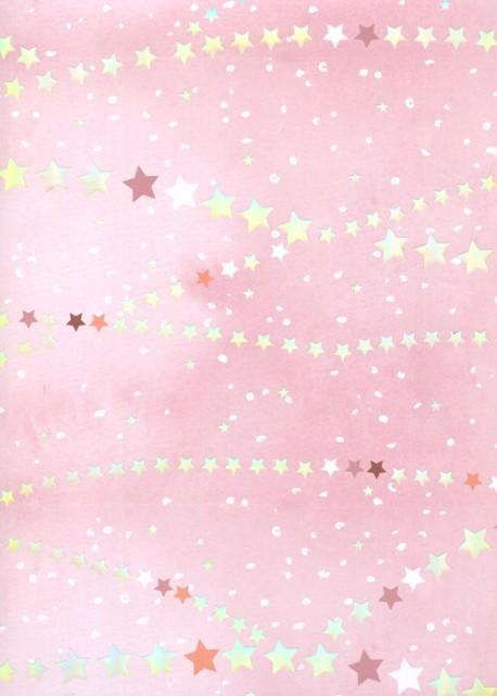 Guirlande d'étoiles métallisées fond rose (48x68)