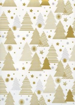Les sapins or et gris sur fond strié blanc (68x98)