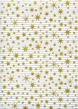 Les étoiles or sur fond rayé gris et blanc (68x98)