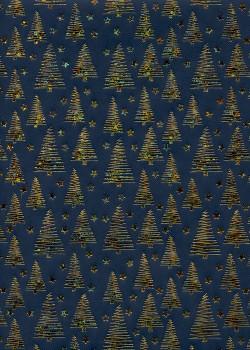 Les sapins or sur fond picot bleu nuit (68x98)