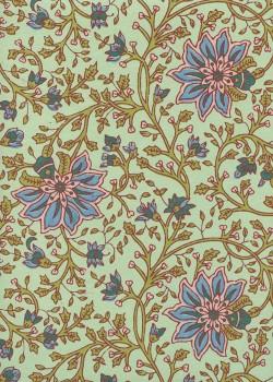 """""""Papier de coton"""" floral fond vert tendre (55x76)"""