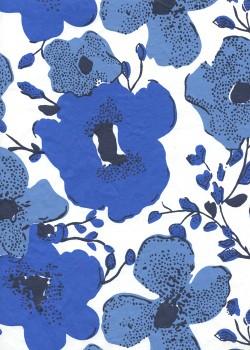 """""""Papier de coton"""" fleurs stylisées bleues (55x76)"""
