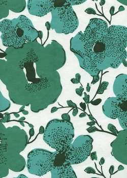 """""""Papier de coton"""" fleurs stylisées vertes (55x76)"""