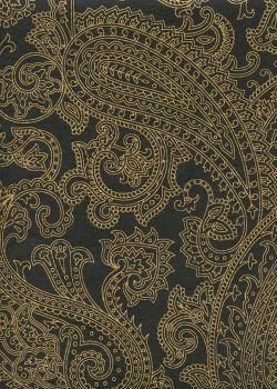 """""""Papier de coton"""" cachemire or fond noir (55x76)"""