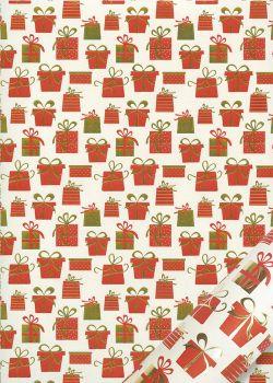 Les cadeaux de Noël rouges et or vif (50x65)