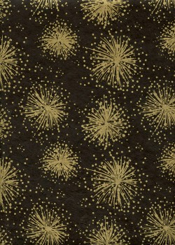 Lokta feu d'artifice or fond noir (50x75)