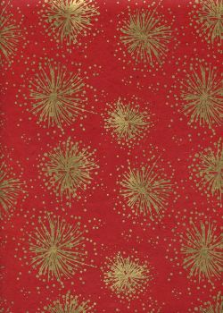 Lokta feu d'artifice or fond rouge (50x75)