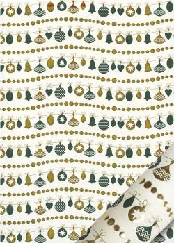 Les guirlandes de Noël vertes et or (50x70)