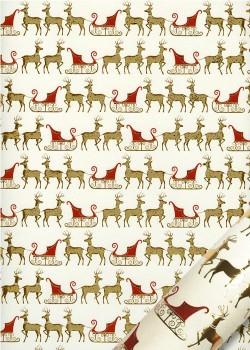 Les rennes et leurs traineaux rouges et or vif (50x70)