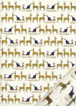 Les rennes et leurs traineaux bleus et or vif (50x70)