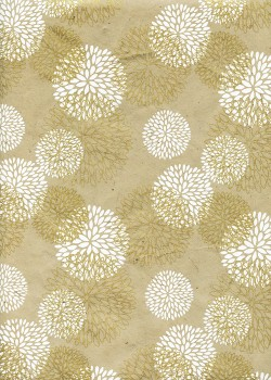 Lokta pivoines blanches et or fond taupe (50x75)
