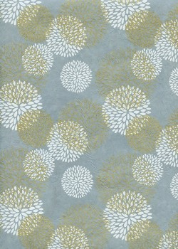 Lokta pivoines blanches et or fond bleu (50x75)