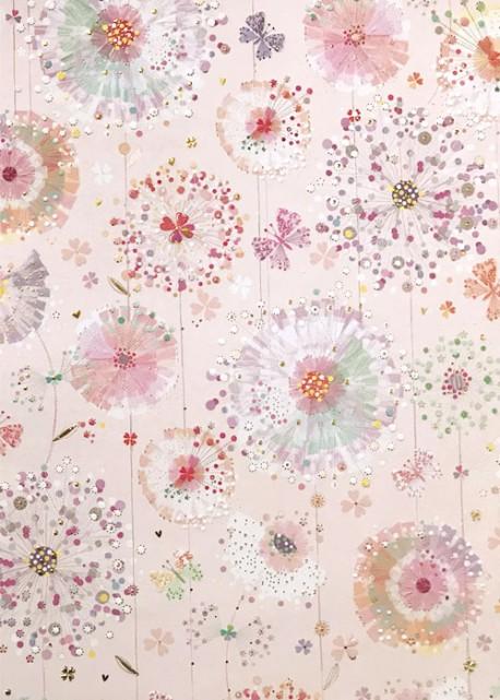 Papier Turnowsky fleurs et papillons fond rose réhaussé or (50x70)