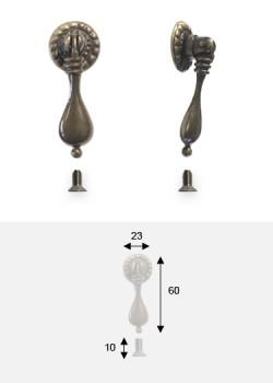 Poignée bouton pendant goutte bronze patiné