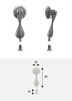 Poignée bouton pendant goutte argent vieilli (60x23) + vis