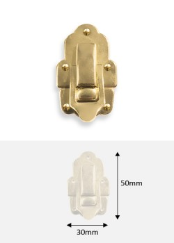 Fermoir cliquet acier laitonné (30x50mm) + clous de fixation