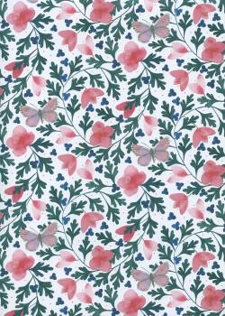 Fleurs et papillons sur fond de feuillage vert (50x70)