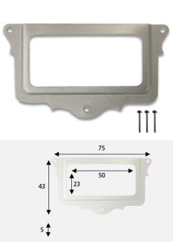 Porte-étiquette festonné étain (75x43mm) + fixations
