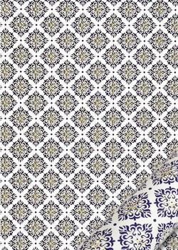 """""""Florence"""" Mosaïque bleue réhaussé or (50x70)"""