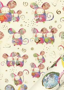 Papier Turnowsky les souris réhaussées or fond vanille (50x70)