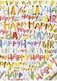 Papier Turnowsky happy birthday pep's réhaussé or (50x70)