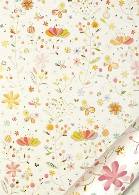 Papier Turnowsky champ de fleurs fond ivoire réhaussé or (50x70)