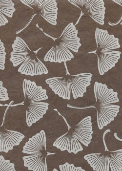 Lokta feuilles de Ginkgo biloba fond marron (50x75)
