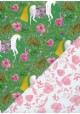 "Recto verso ""Les licornes fond vert / fleurs roses"" (50x70)"