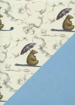 """Recto verso """"Ours brun fond ivoire / uni bleu"""" (50x70)"""