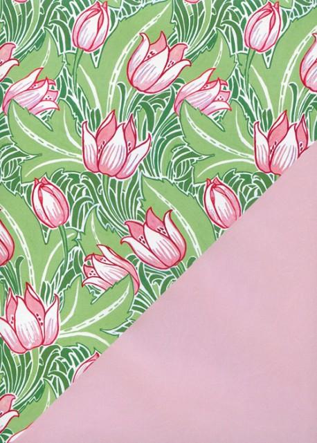 """Recto verso """"Les tulipes roses fond vert / uni rose tendre"""" (50x70)"""