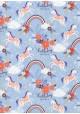Licornes et arcs en ciel ambiance fluo fond bleu clair (50x70)