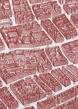 Toile de jouy - Plan de Turgot rouge foncé (65x100)*