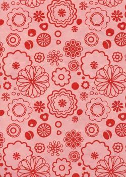 Lokta fleurs stylisées rouges fond rose (50x75)