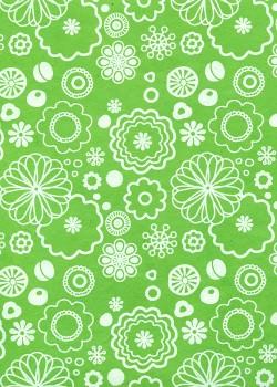 Lokta fleurs stylisées blanches fond vert pomme (50x75)