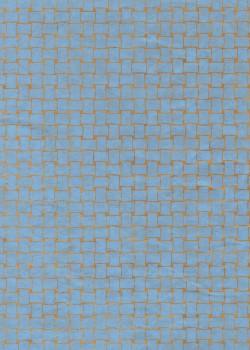 Lokta entrelacs bleu fond havane (50x75)