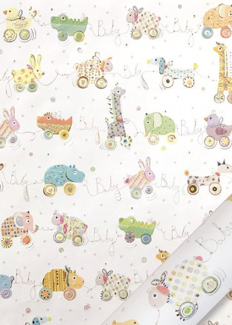 Papier Turnowsky guirlande baby réhaussé or (50x70)