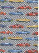 Les voitures de course fond damier (68,5x98)