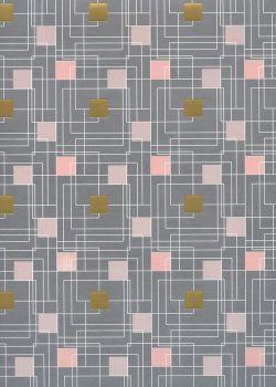 carrés et labyrinthes fond strié gris rehaussé or (68x98)