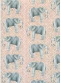 Les éléphants fond damier rose et or (68x98)