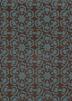 Lokta rosaces de fleurs turquoises fond brun (50x75)