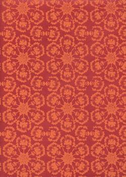 Lokta rosaces de fleurs orange fond rouge (50x75)