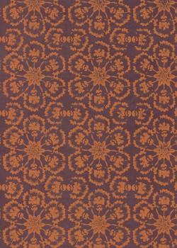 Lokta rosaces de fleurs rouille fond brun (50x75)